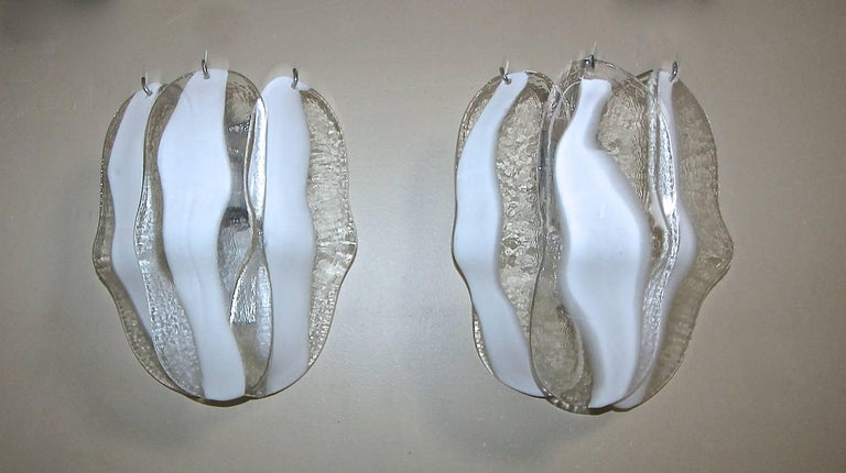 Pair of Mazzega Murano White and Clear Glass Wall Sconces For Sale 1