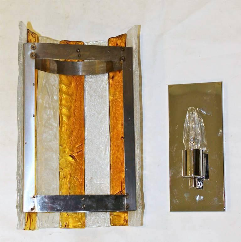 Pair Large Italian Amber and Clear Glass Wall Sconces For Sale at 1stdibs