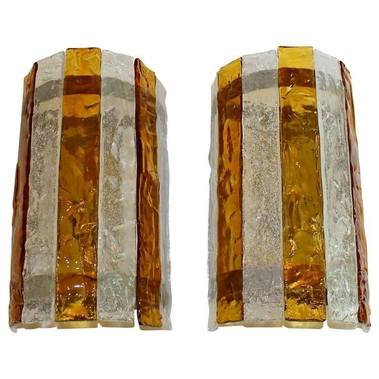 Wall Sconces With Clear Glass : Pair Large Italian Amber and Clear Glass Wall Sconces For Sale at 1stdibs
