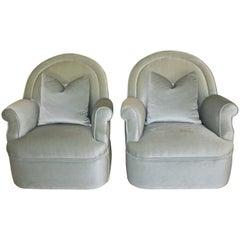 Pair of Custom Mohair Seafoam Green Lounge Club Chairs