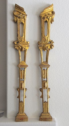 Pair French Architectural Carved Gilt Wood Fragments Wall Art