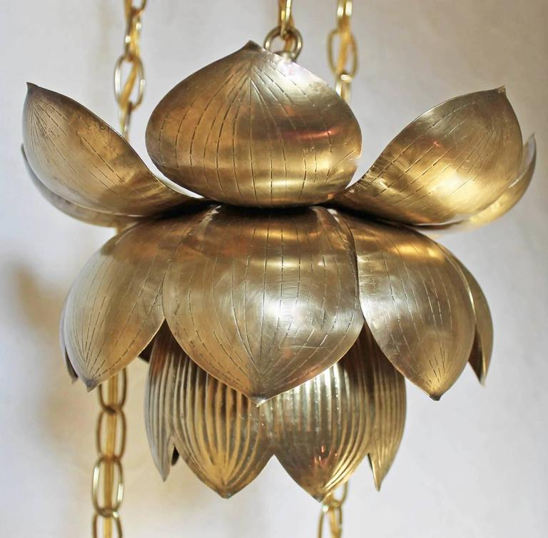 Feldman Three Pendant Light Lotus Brass Chandelier 5
