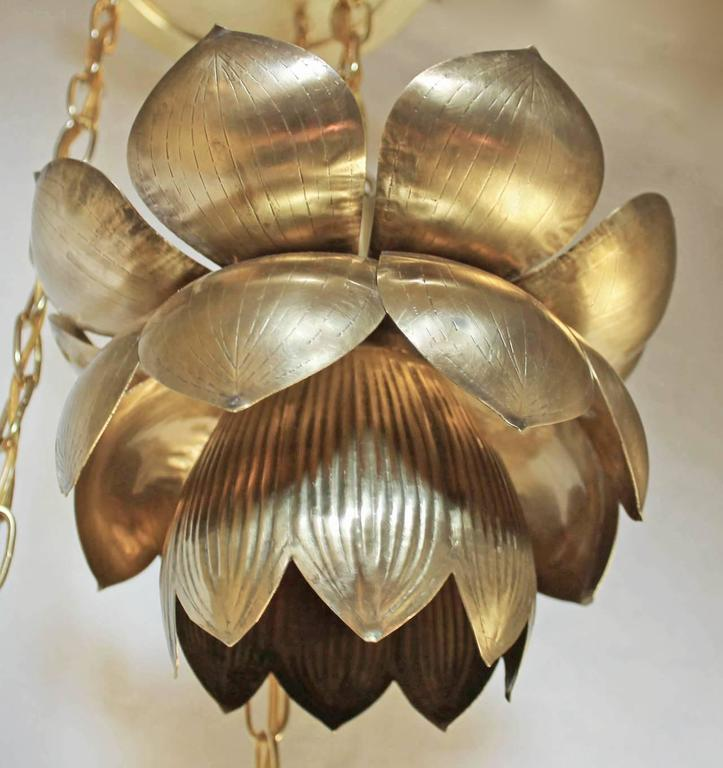 Feldman Three Pendant Light Lotus Brass Chandelier 7
