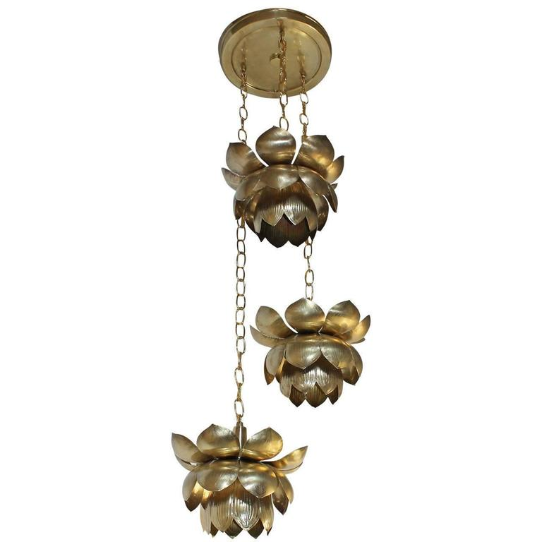 Feldman Three Pendant Light Lotus Brass Chandelier 9