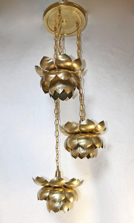 Feldman Three Pendant Light Lotus Brass Chandelier 6