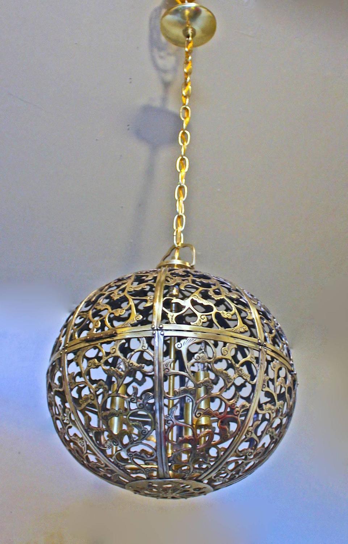 large pierced brass asian pendant light for sale at 1stdibs