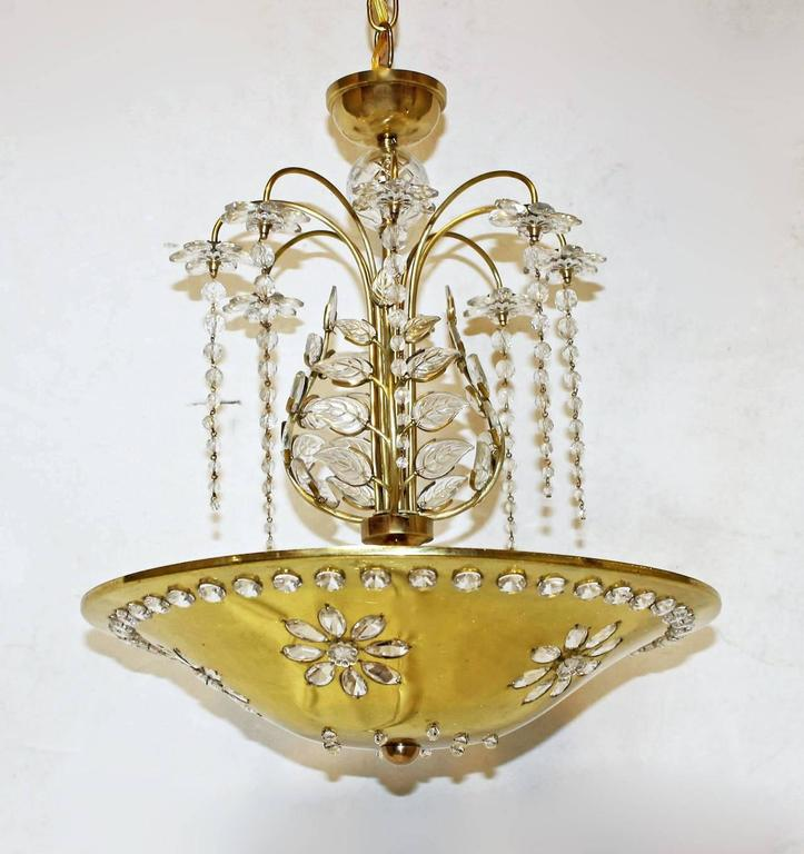 Maison Bagues Style Crystal Leaf Chandelier Or Pendant Light For - Chandelier leaves crystals