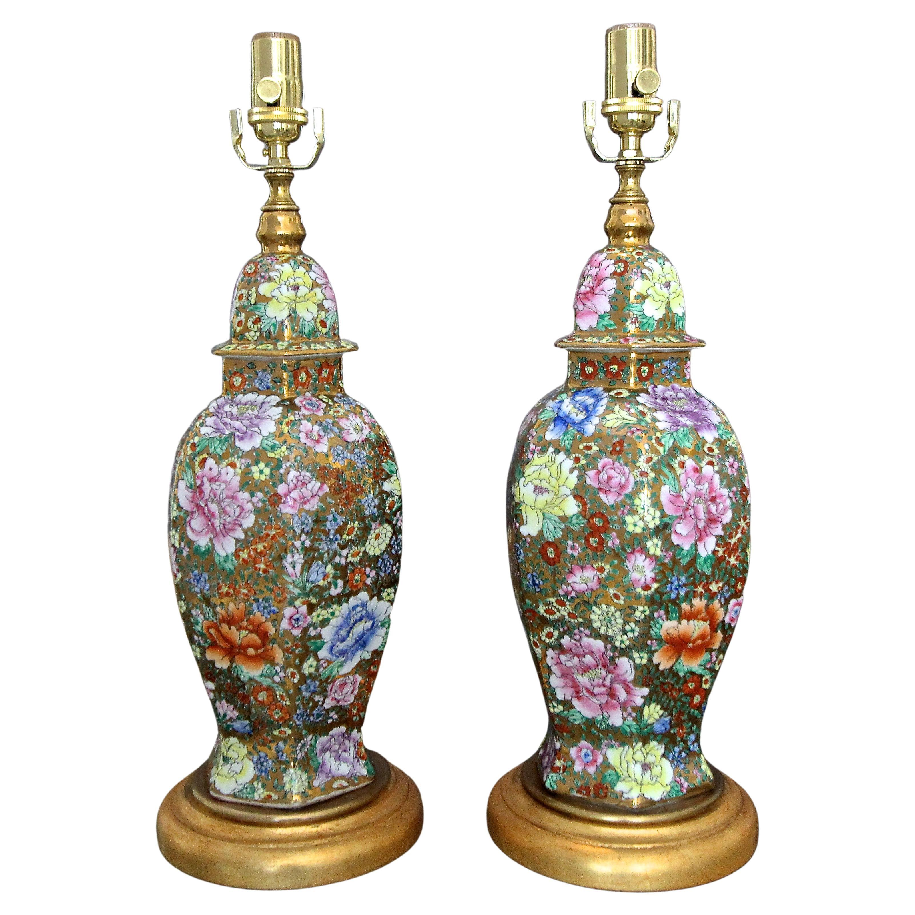 Pair of Chinese Famille Rose Millefleurs Porcelain Vase Table Lamps