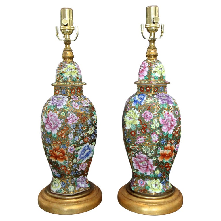 Pair of Chinese Famille Rose Millefleurs Porcelain Vase Table Lamps For Sale