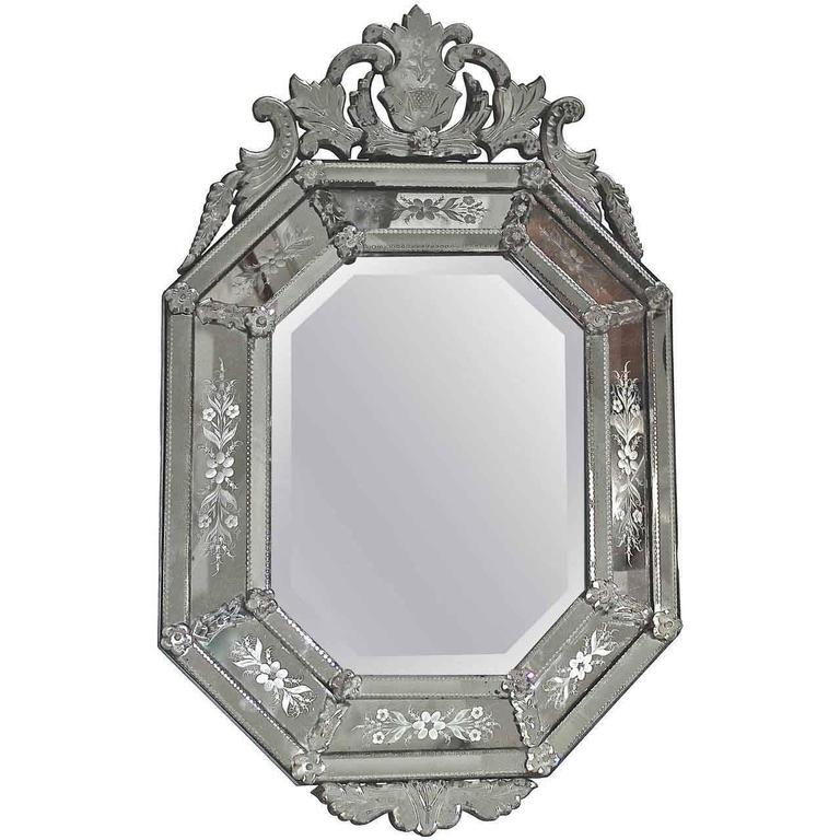 Italian Venetian Etched Glass Wall Mirror For Sale 6