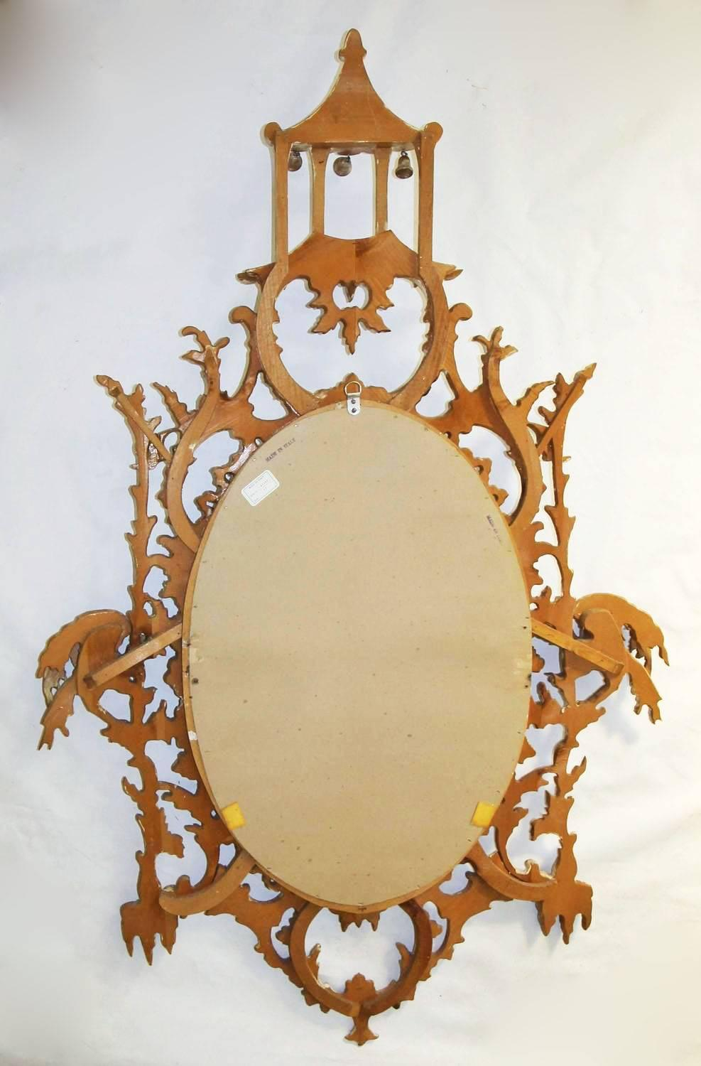 Carved Wood Chinese Chinoiserie Chippendale Style Pagoda Mirror For ...