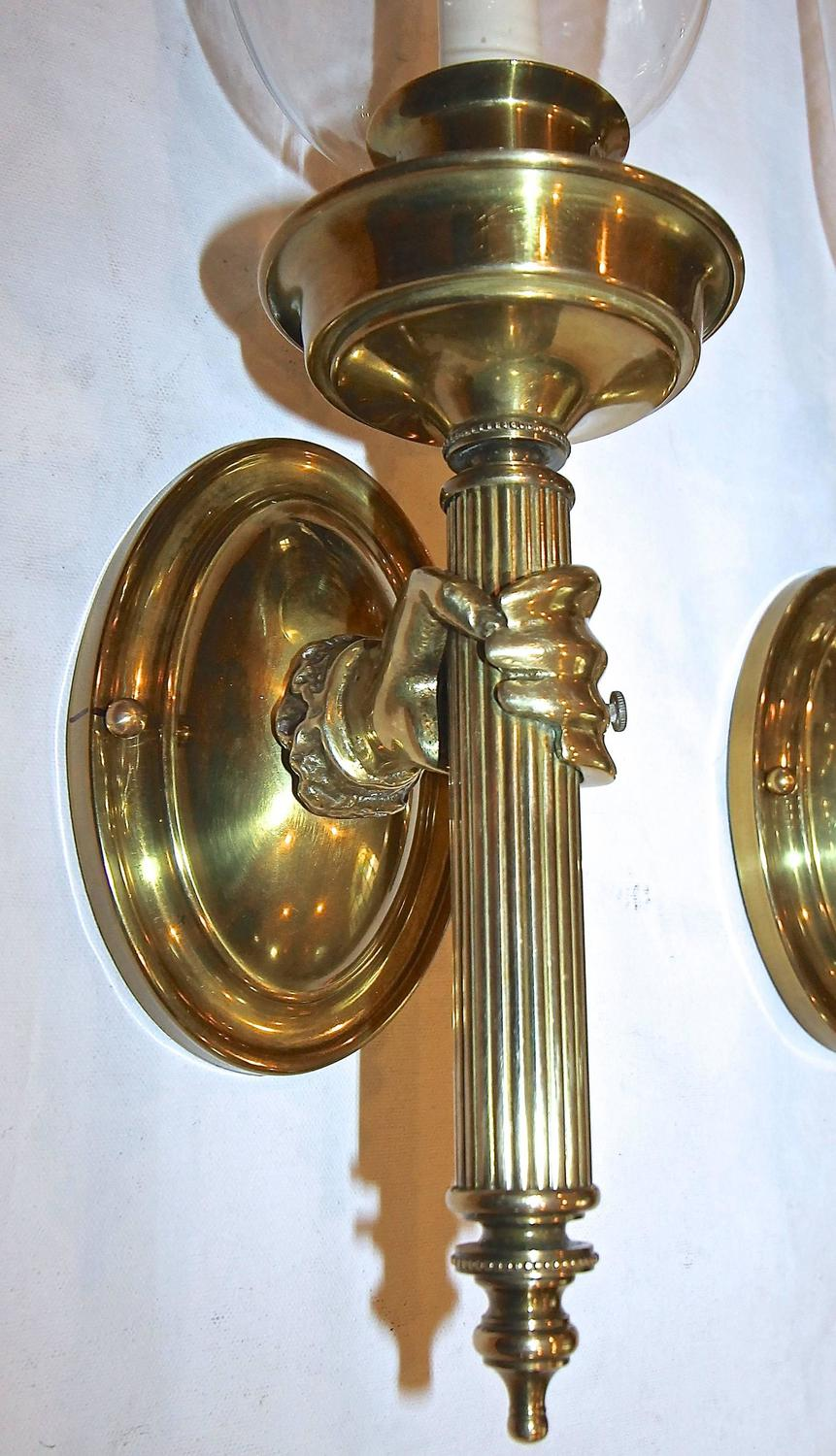 Wall Sconces That Look Like Torches : Large Hand Torch Bronze Wall Sconces For Sale at 1stdibs