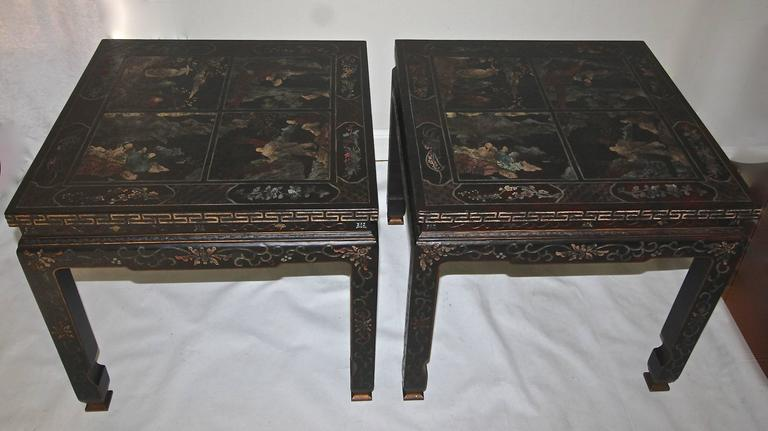 Exceptional Pair Of Large Scale Asian Inspired Side Or End Tables With  Polychrome Chinoiserie And