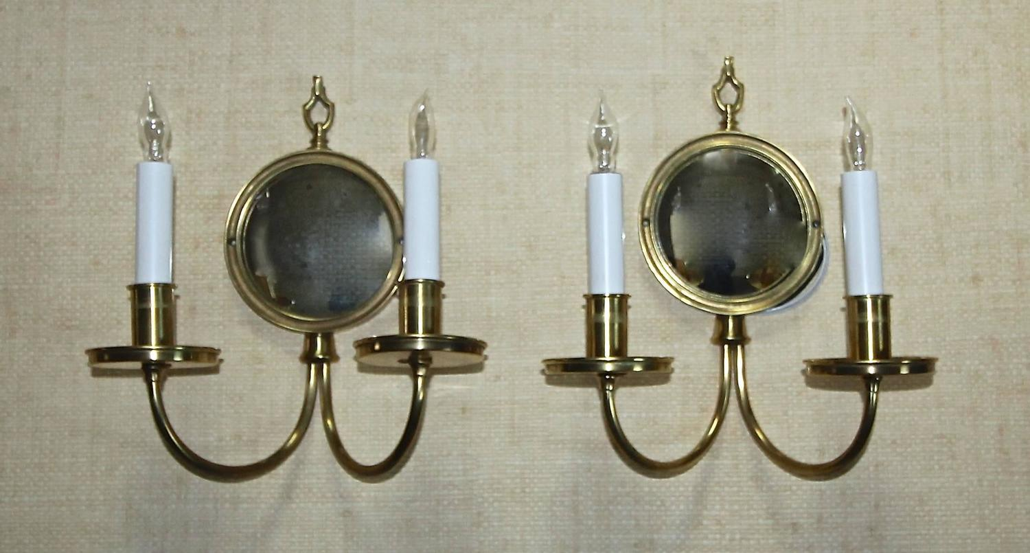 Pair Adam Style Brass Convex Mirror Wall Sconces For Sale at 1stdibs