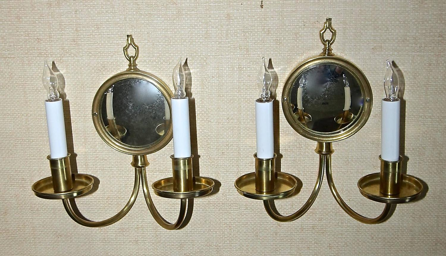 Wall Sconces With Mirrors : Pair Adam Style Brass Convex Mirror Wall Sconces For Sale at 1stdibs