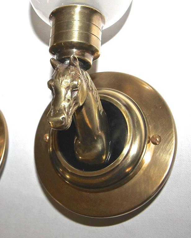 Wall Sconces Equestrian: Pair French Brass Horse Equestrian Wall Sconces For Sale