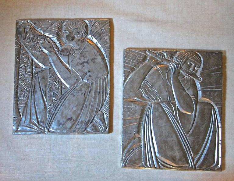 Pair Deco Style Silver Gilt Plaster Relief Wall Panels For Sale at ...