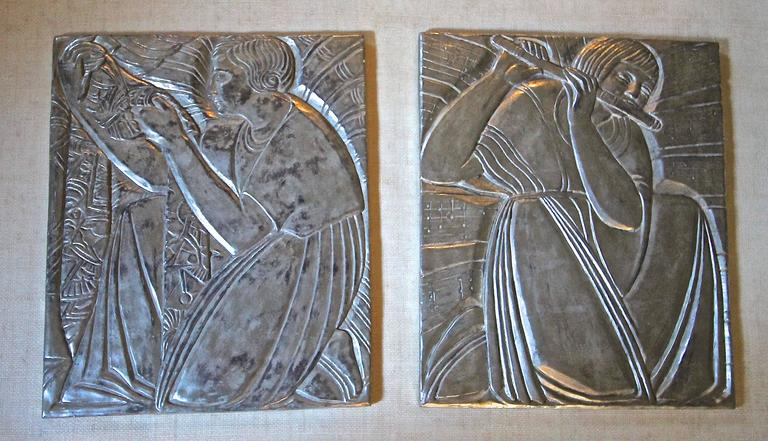 Pair Deco Style Silver Gilt Plaster Relief Wall Panels At
