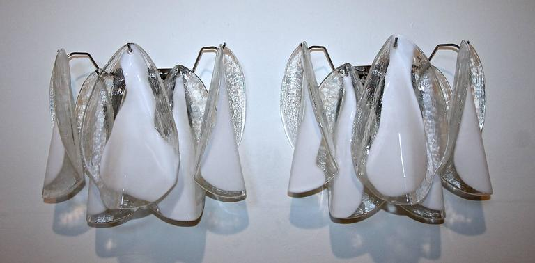 Pair of Murano Mazzega White Petal Shape Glass Sconces For Sale 1