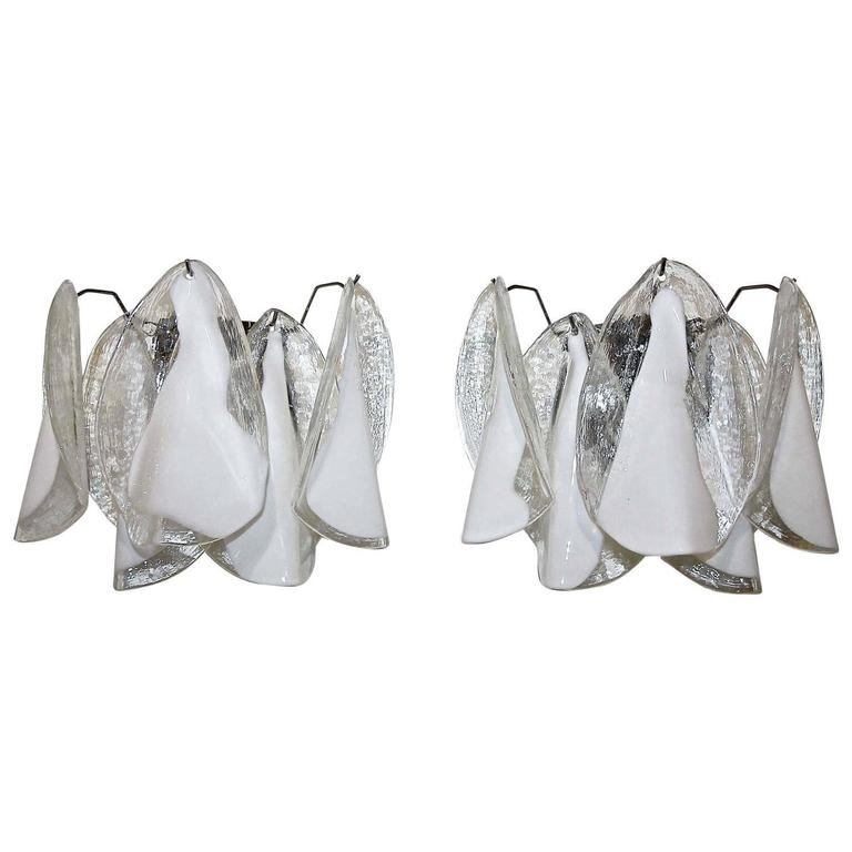 Pair of Murano Mazzega White Petal Shape Glass Sconces For Sale 3