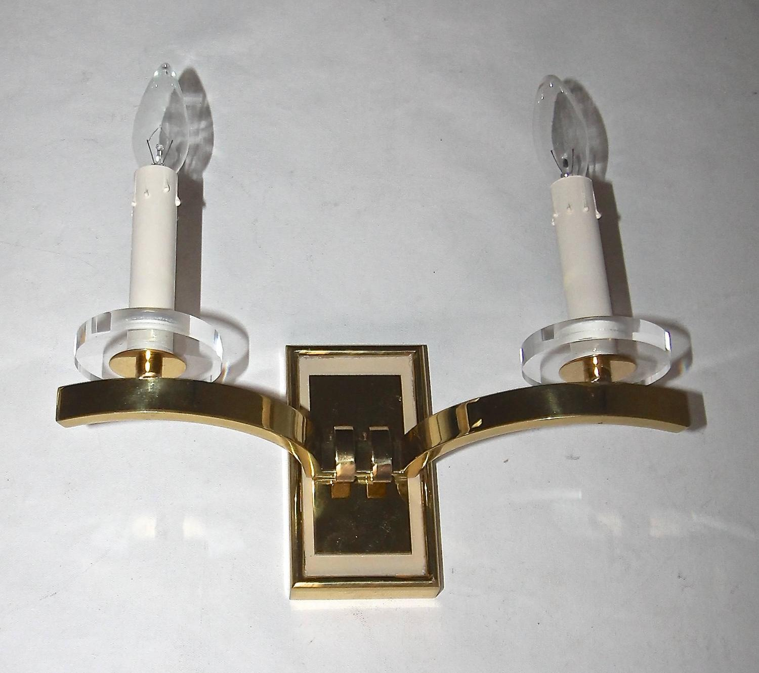 Pair of French Moderne Brass Wall Sconces For Sale at 1stdibs