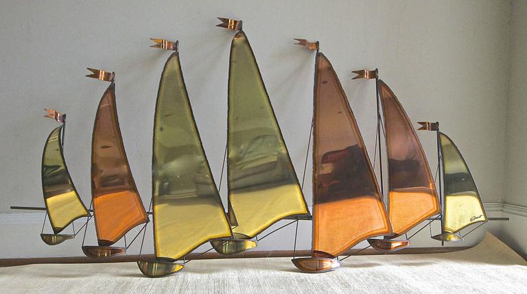 Large C. Jere Style Sail Boat Brass And Copper Wall