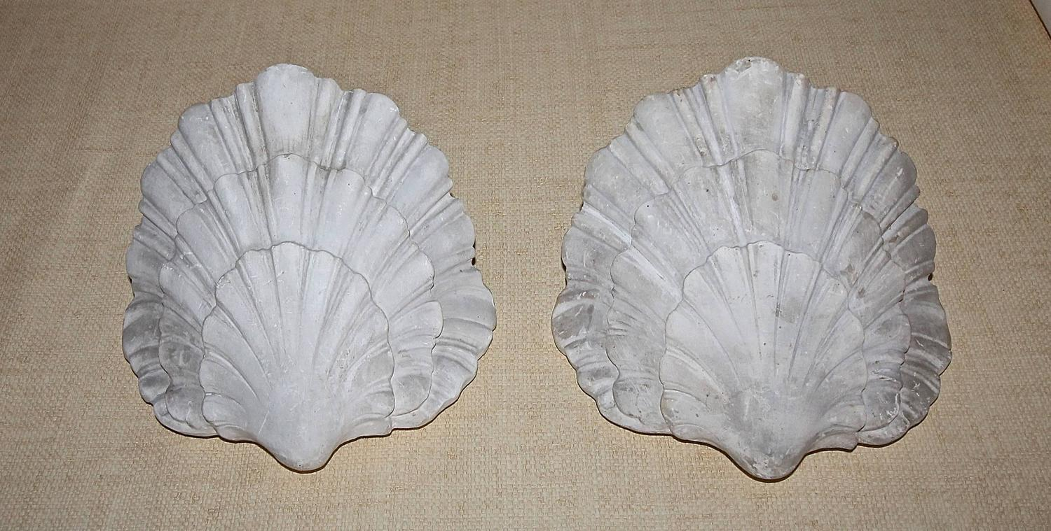 Wall Sconces Plaster : Pair of Serge Roche Style Shell Plaster Wall Sconces at 1stdibs