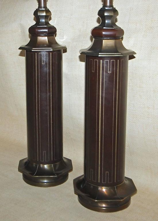 Pair Parzinger Style Tooled Leather Table Lamps For Sale ...
