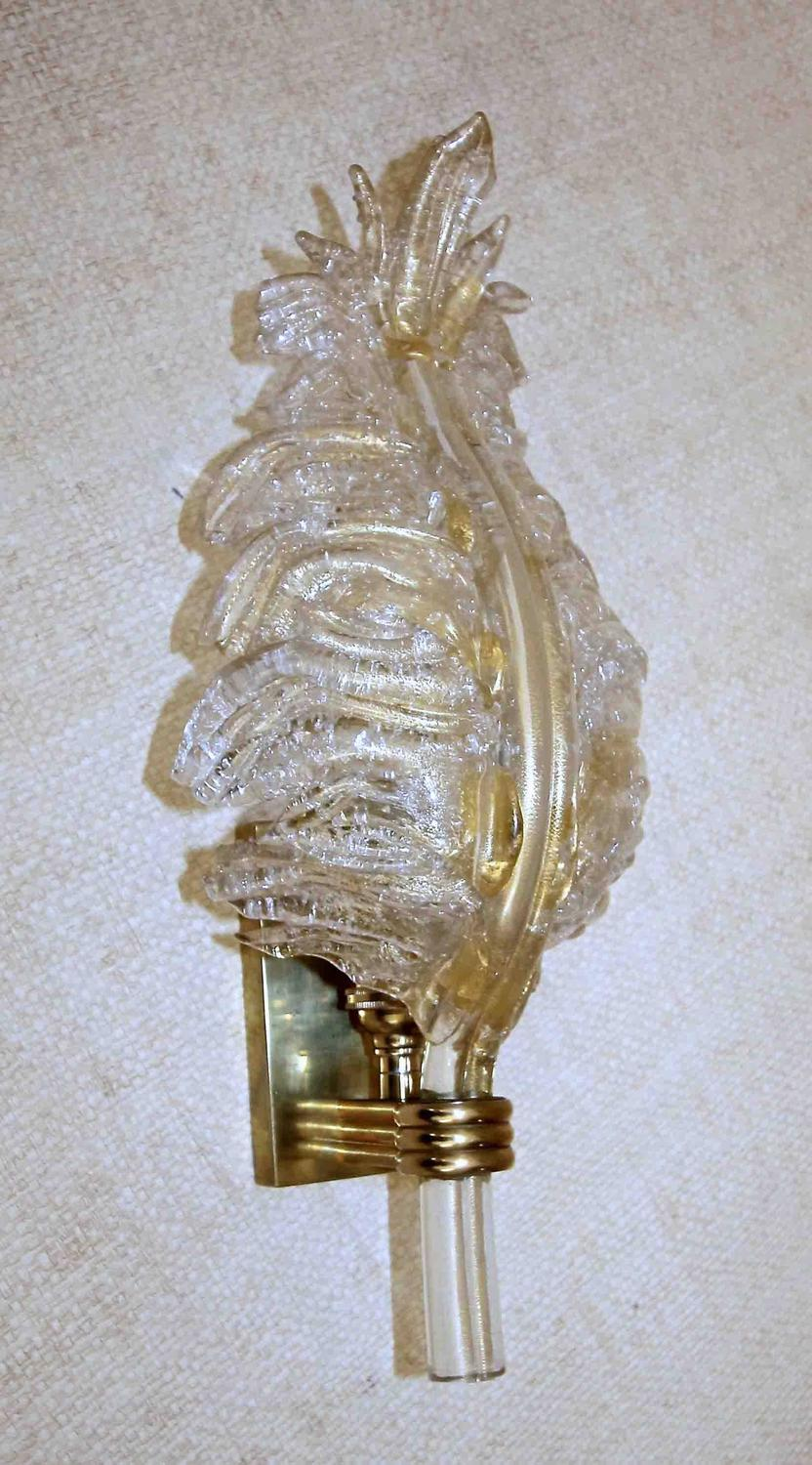 Wall Sconces With Leaves : Single Barovier Murano Glass Rugiadoso Leaf Wall Sconce at 1stdibs
