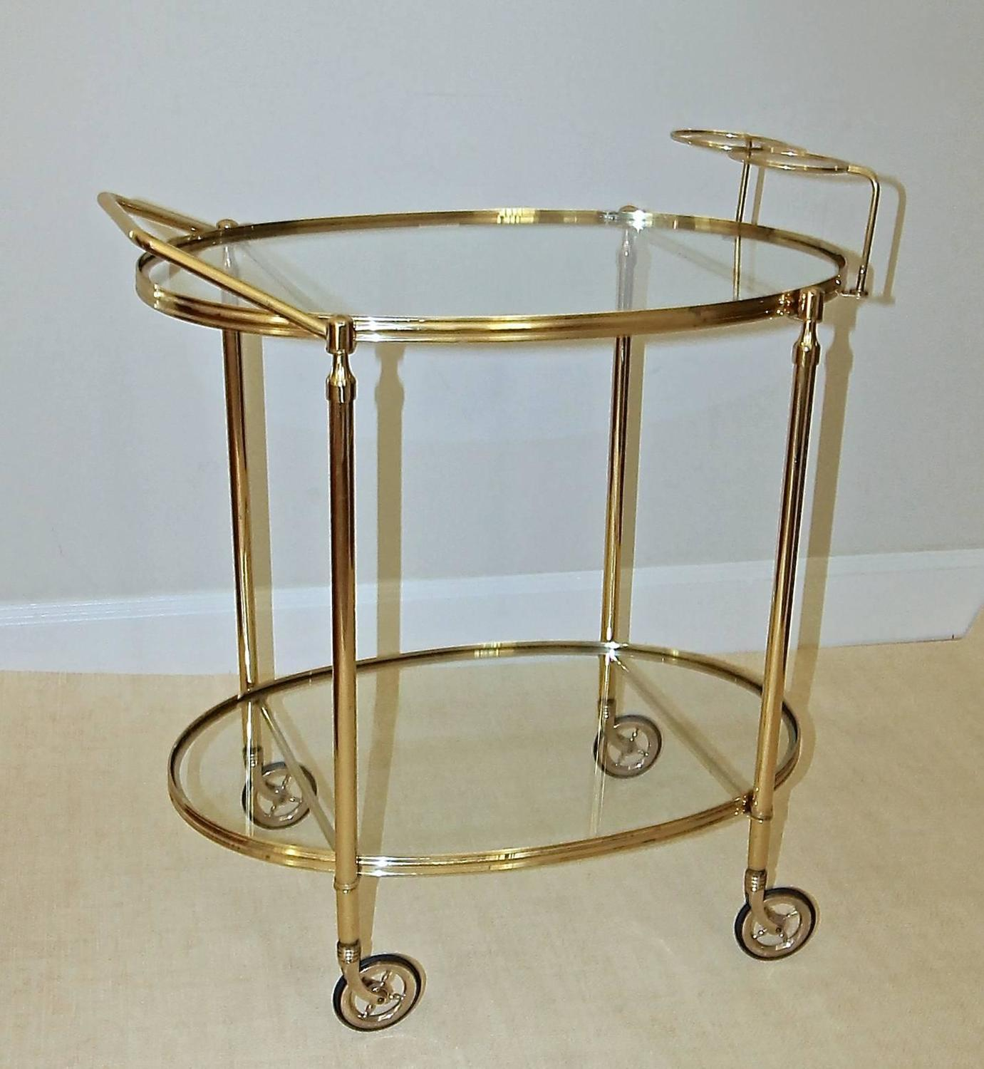 Italian Hand Crafted Brass Bar Cart For Sale at 1stdibs