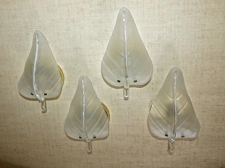 Four Murano Glass Leaf Wall Sconces For Sale 6