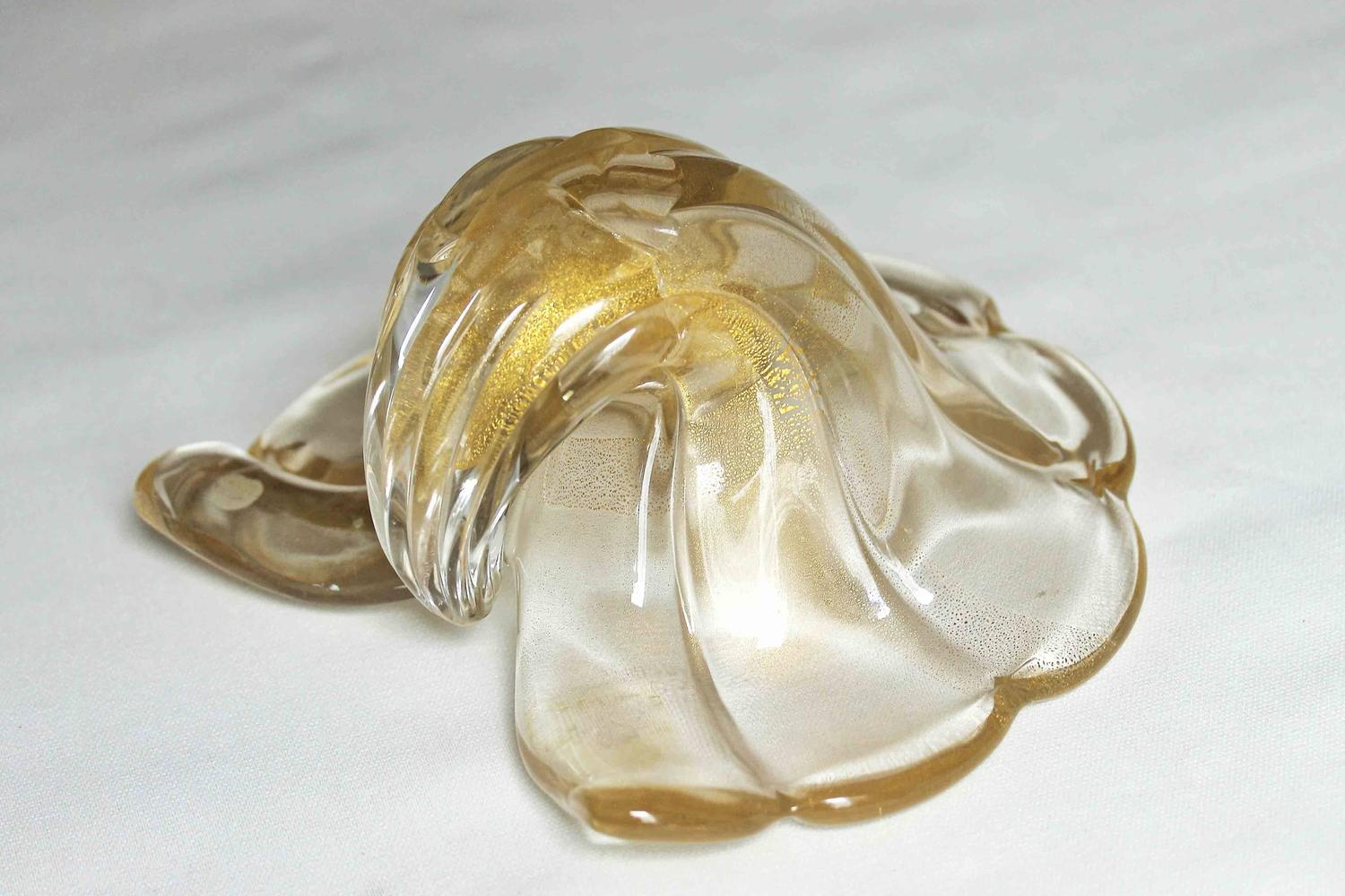 Large barovier murano gold shell centerpiece bowl for sale