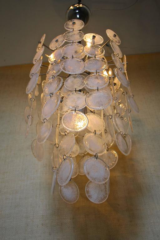 Metal Murano Mazzega Cascading Clear and White Glass Disk Chandelier For Sale