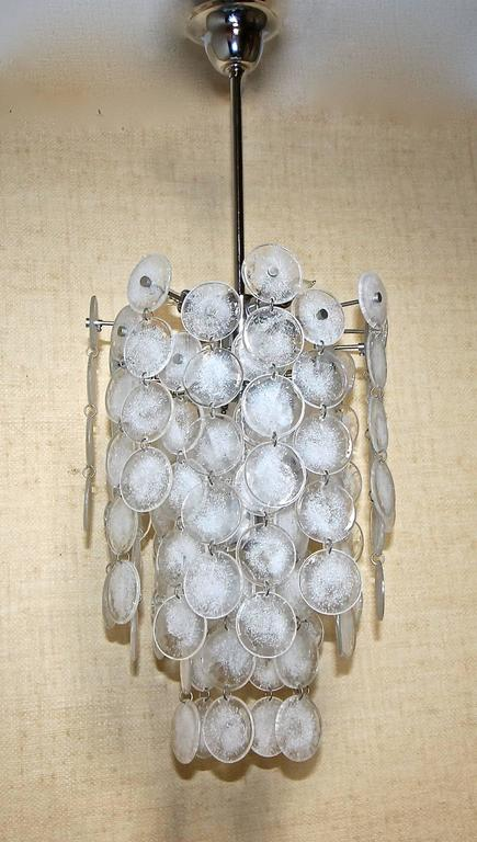 Italian Murano Mazzega Cascading Clear and White Glass Disk Chandelier For Sale