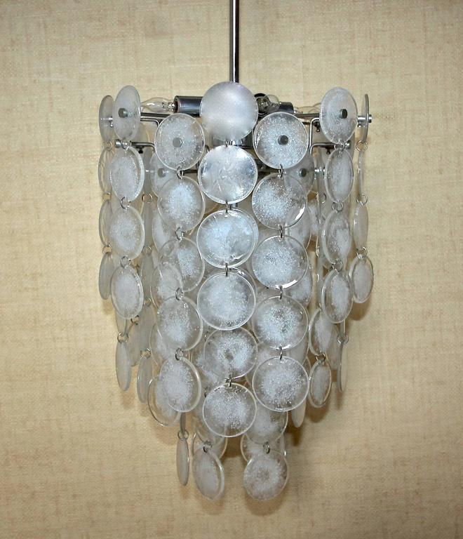 Murano Mazzega Cascading Clear and White Glass Disk Chandelier For Sale 1