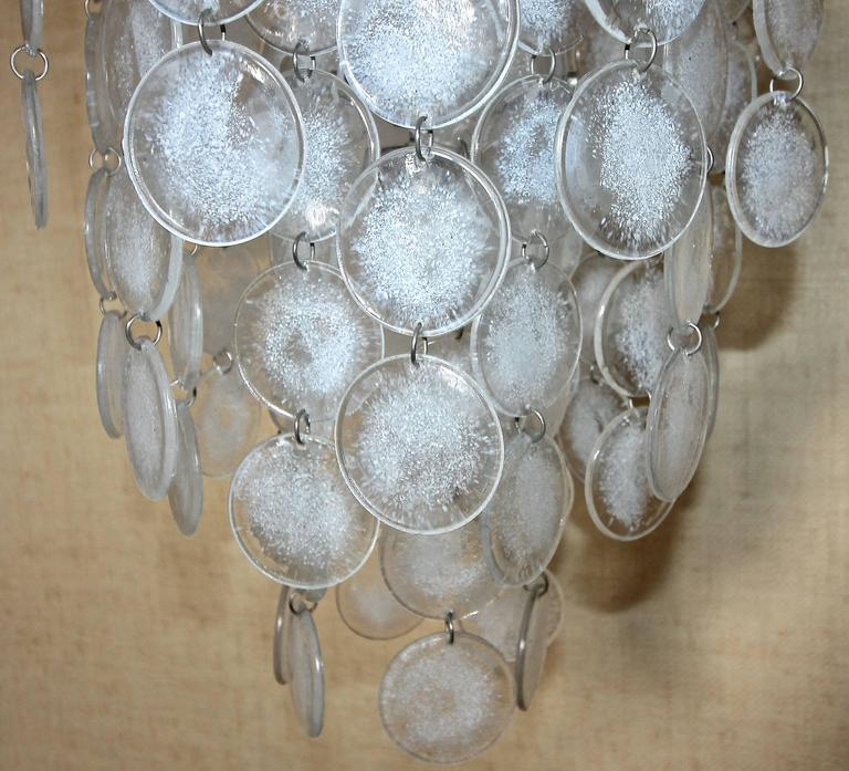 Murano Mazzega Cascading Clear and White Glass Disk Chandelier For Sale 2