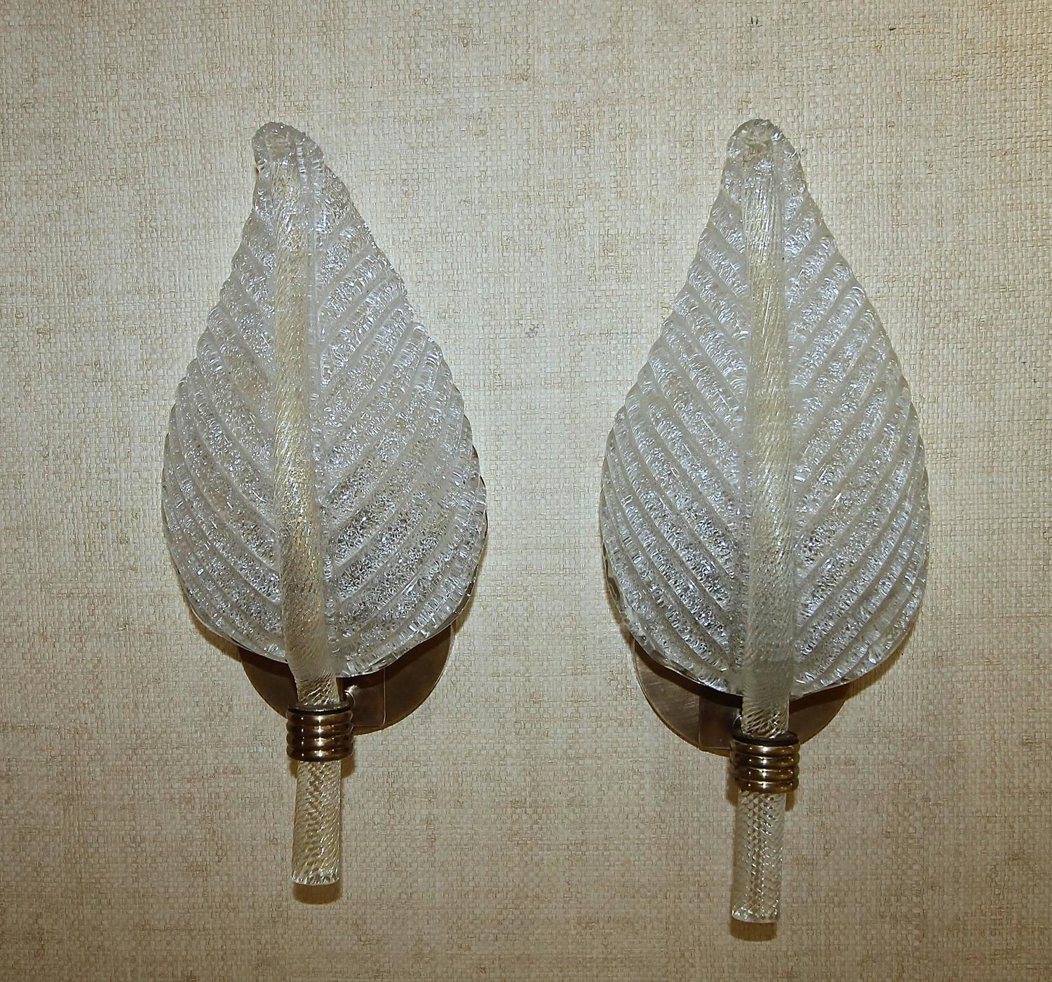 Pair Barovier Murano Rugiadoso Leaf Wall Sconces at 1stdibs