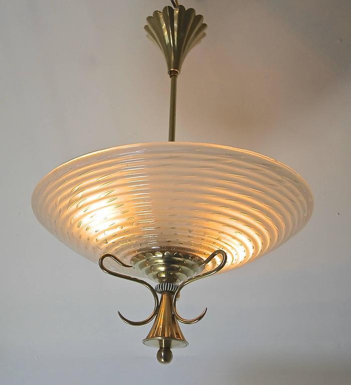 Barovier Murano Glass Brass Chandelier or Pendant  For Sale 2