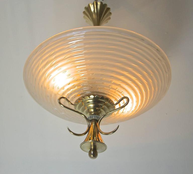 Barovier Murano Glass Brass Chandelier or Pendant  For Sale 3