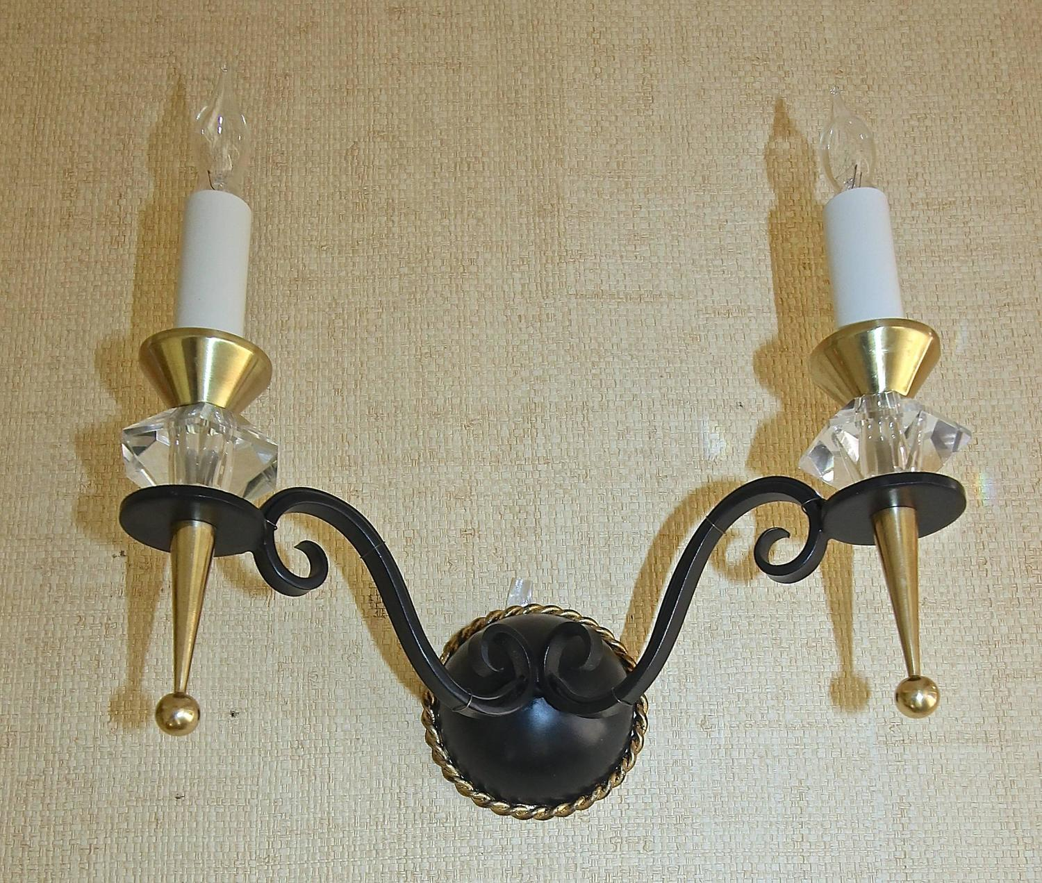 Pair French Leleu Art Deco Brass Crystal and Painted Iron Sconces For Sale at 1stdibs