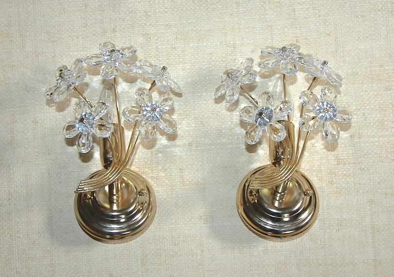 Pair of Italian Floral Crystal Wall Sconces For Sale at 1stdibs