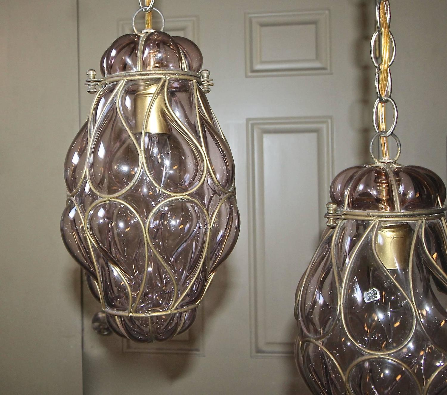 pair of venetian murano amethyst caged glass pendant or. Black Bedroom Furniture Sets. Home Design Ideas