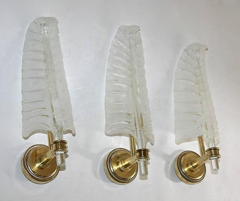 Set of three (3) Barovier handblown Italian glass leaf or plume shaped wall sconces. The glass is carefully crafted using the
