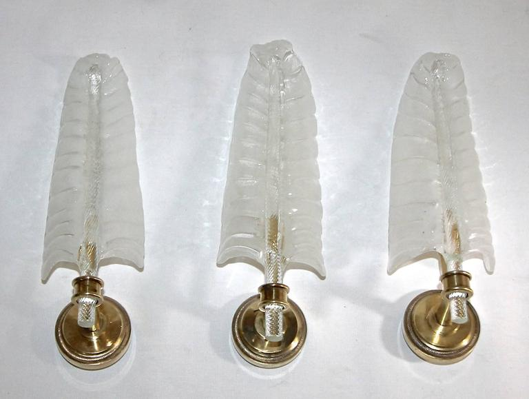 Three Barovier Murano Glass Leaf Wall Sconces For Sale 4