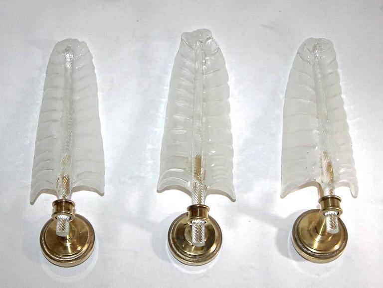 Italian Three Barovier Murano Glass Leaf Wall Sconces For Sale