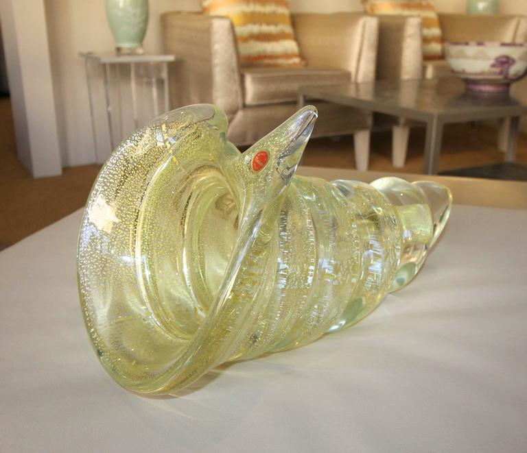 Large Gold Silver Murano Counch Shell Centerpiece Bowl For Sale 3