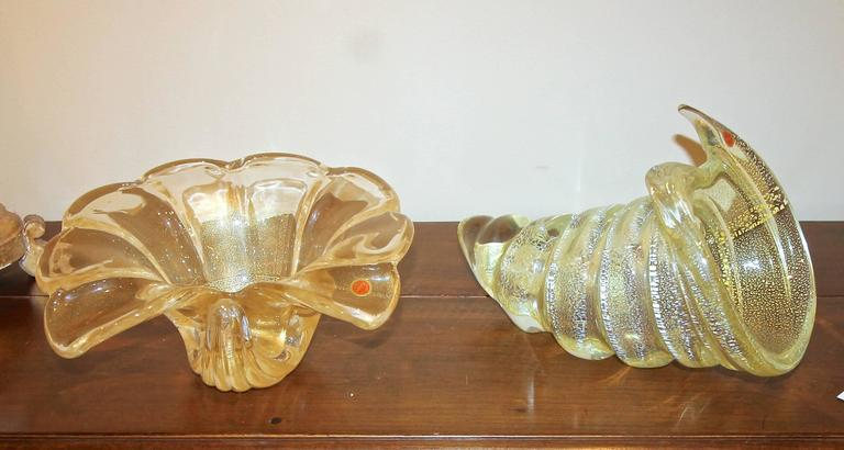 Large Gold Silver Murano Counch Shell Centerpiece Bowl For Sale 4