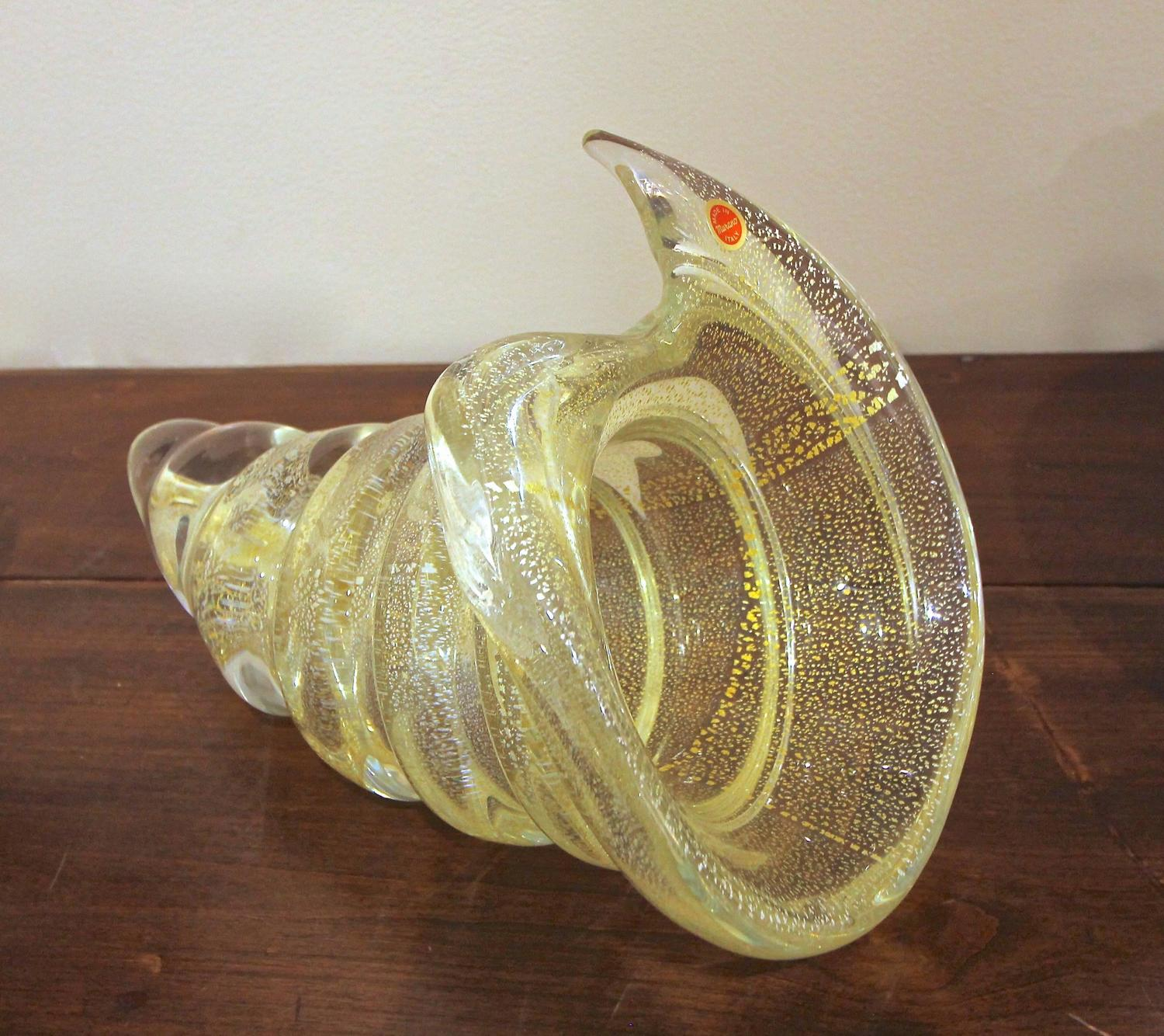 Large gold silver murano counch shell centerpiece bowl for