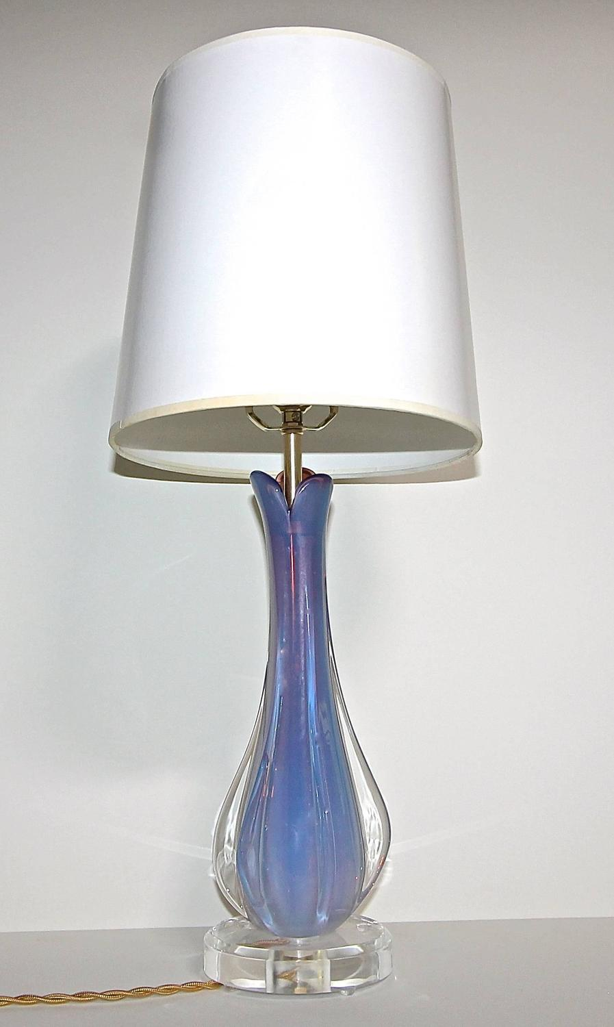 Murano Opalescent Purple Glass Table Lamp For Sale At 1stdibs