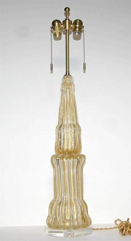 Large Barovier Murano Gold Tall Lamp For Sale 2